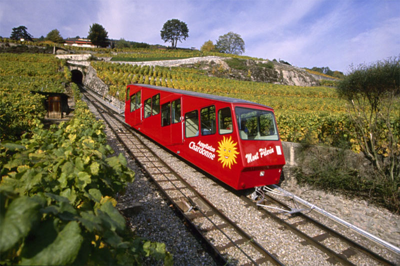 Funicular through the Lavaux vineyards
