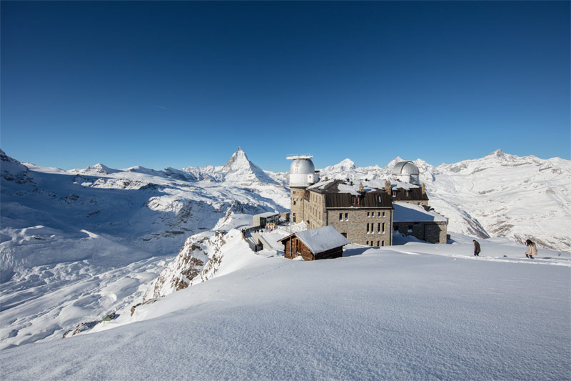 Winter view of the Gornergrat summit