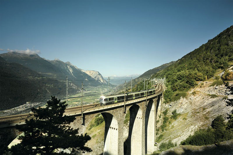 Scenic viaduct in the Rhone Valley on the Lötschberg Regio Express