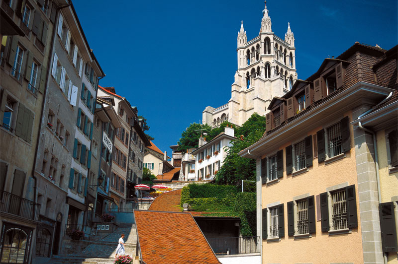 Road leading to the cathedral in Lausanne