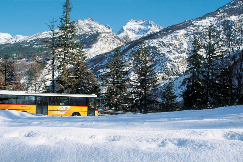 Winter view of a PostBus
