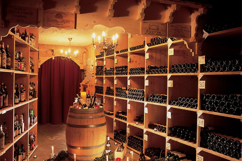 The hotel has a notable wine cellar
