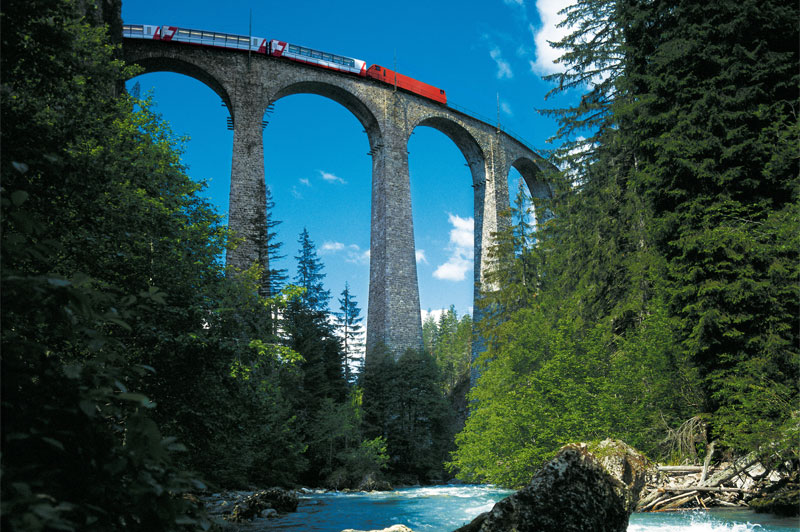 Glacier Express on the Landwasser Viaduct