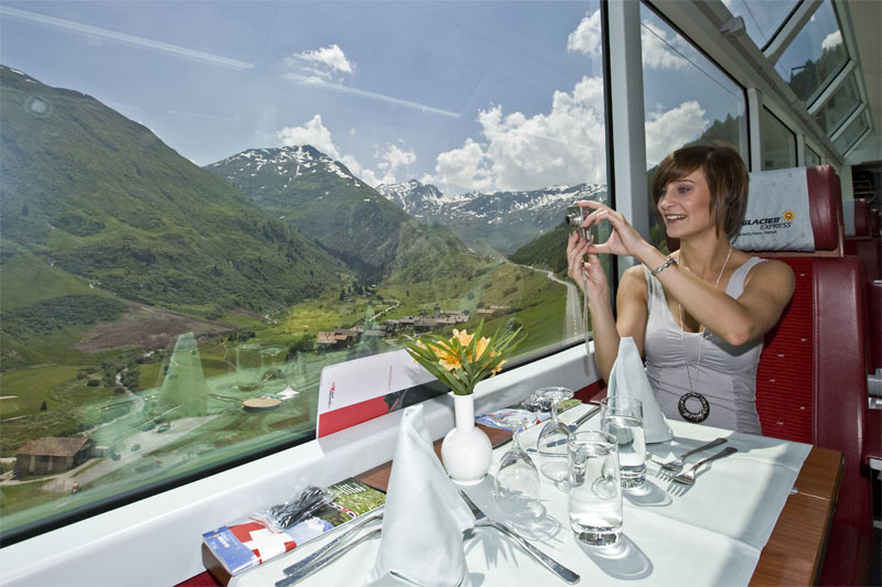 Dining on the Glacier Express