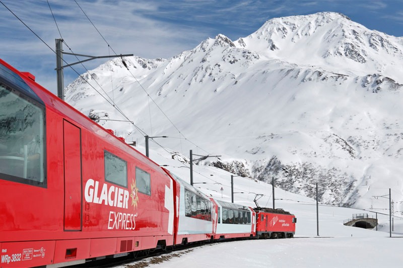 Glacier Express near Andermatt in winter